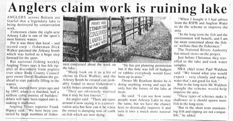 Arlesey Etonbury farm work is ruining lake